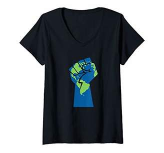 Womens RESIST Climate Change Protect the Earth Protest V-Neck T-Shirt
