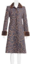 Searle Fur-Trimmed Jacquard Coat