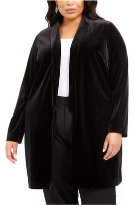 Alfani Plus Size Open-Front Long Velvet Jacket
