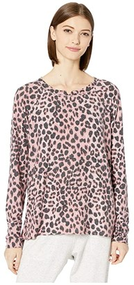 Michael Stars Madison Snow Leopard Kim Long Sleeve Notch Neck Top with Thumbholes (Rosebud Multi) Women's Clothing