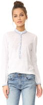 Rebecca Taylor Long Sleeve Henley with Stripes