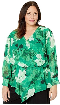 Vince Camuto Plus Size Long Sleeve Asymmetrical Peplum Cinch Waist Floral Blouse (Deep Emerald) Women's Clothing