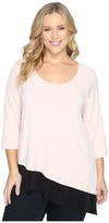 Calvin Klein Plus Plus Size 3/4 Sleeve Double Layer Angle Top