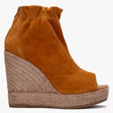 Thumbnail for your product : Kanna Pickerel Tan Suede Espadrille Wedge Ankle Boots