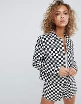 Asos Design Denim Jacket In Checkerboard Print