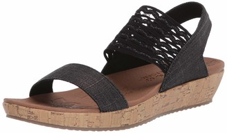 Skechers Brie - Most Wanted - Sparkle Linen Scalloped Gore Sandal Black
