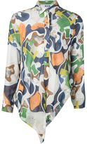 MSGM abstract print asymmetric shirt - women - Silk - 42