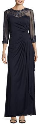 Alex Evenings Illusion Neck Beaded Gown