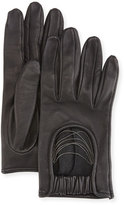 Brunello Cucinelli Napa Leather Biker Gloves with Monili Strands, Black