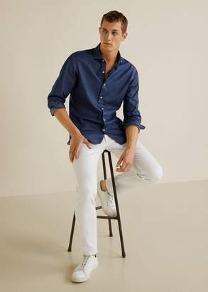 MANGO Slim fit cotton chambray shirt