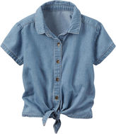 Carter's Short Sleeve Button-Front Shirt Girls