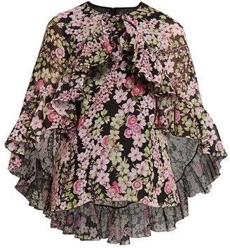 Giambattista Valli Floral Silk Cape Blouse