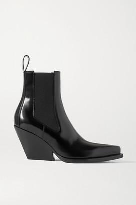 Bottega Veneta Glossed-leather Ankle Boots - Black
