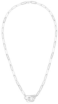 Dinh Van 18K White Gold Menottes Chain Link Necklace with Diamonds, 17.3