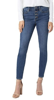 Liverpool Abby Sustainable Ankle Jeans with Exposed Button in Barnes (Barnes) Women's Jeans