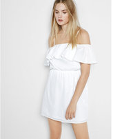 Express white ruffle overlay cold shoulder dress