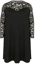 Yours Clothing YoursClothing Plus Size Womens Ladies Lace Overlay Swing Dress Sweetheart