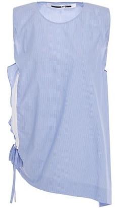 McQ Asymmetric Draped Striped Cotton-poplin Top