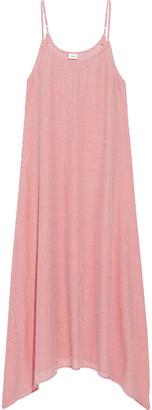 Onia Elise Asymmetric Striped Cotton-jacquard Maxi Dress