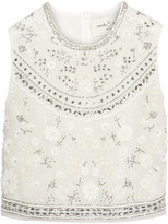 Needle & Thread Bridal Cropped Embellished Chiffon Top - Ivory