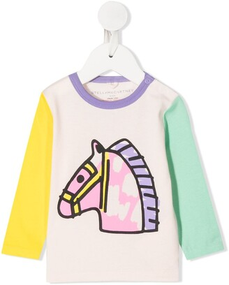 Stella Mccartney Kids horse-print long-sleeve T-shirt