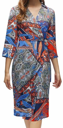 FanXinXing Women's Wrap Vintage Print Dress 3/4 Sleeve V-Neck Midi Club Party Dresses S-Blue