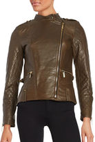 Vince Camuto Leather Front Zip Moto Jacket