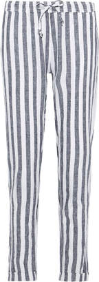 Onia Ella Striped Linen And Cotton-blend Straight-leg Pants