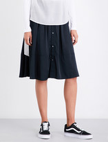 Izzue Drawstring-waist high-rise satin skirt