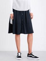 Izzue Drawstring-waist high-rise satin skirt