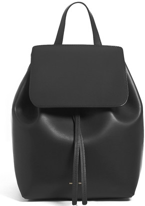 Mansur Gavriel Coated Mini Backpack in Black & Flamma | FWRD