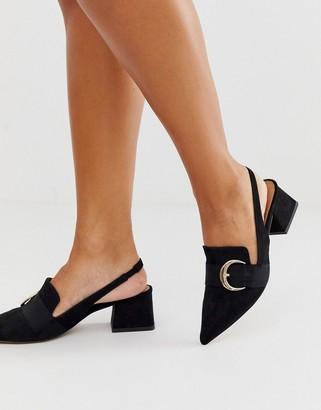 Asos DESIGN Saffy slingback loafer mid heels in black