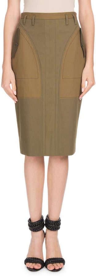 Altuzarra High-Waist Cotton Pencil Skirt w/ Pocket Detail