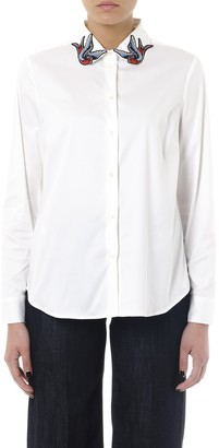 RED Valentino White Silk Shirt With Embroidered Collar