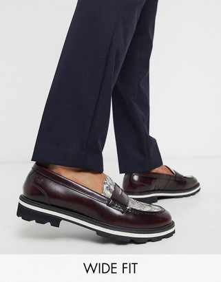 Feud London wide fit chunky high shine loafer in bordo