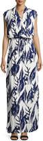 Cynthia Steffe Miranda Floral-Print Drawstring Maxi Dress, Blue/White