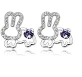 Move&Moving Silver Swarovski Elements Crystal Diamond Accent Rabbit Fashion Earrings Studs Drop Set for women teenage girls kids children, with a Gift Box, Ideal Gift for Birthdays / Christmas / Wedding-, Model: X18110