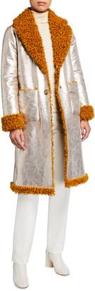 Pinko Draco Reversible Faux-Shearling Coat