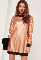 Missguided Contrast Foil Sweater Dress Rose Gold