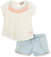 Lucky Brand Vanilla Ice Clara Embroidered-Accent Top & Shorts - Infant