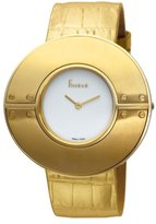 Freelook Women's HA8255G-3 White Dial All Gold Tone Round Chape Leather Band Watch