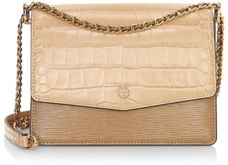 Tory Burch Robinson Croc-Embossed Leather Shoulder Bag