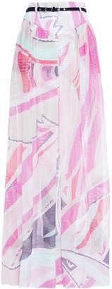 Emilio Pucci Pleated Metallic Silk-blend Jacquard Maxi Skirt