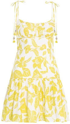 Zimmermann Bells Fit and Flare Mini Dress in Yellow Floral
