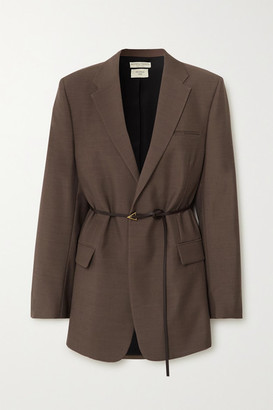 Bottega Veneta Oversized Belted Melange Wool Blazer - Brown