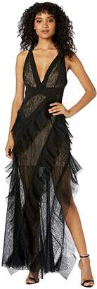 BCBGMAXAZRIA Halter Gown with Lace and Tulle Tiers (Black) Women's Dress