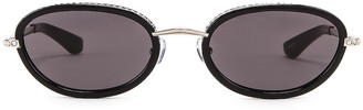 Area Crystal Oval Sunglasses in Black & Grey | FWRD
