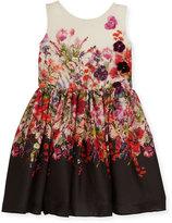 Zoë Ltd Scarlet Sleeveless Floral Crepe Chiffon Dress, Multicolor, Size 4-6