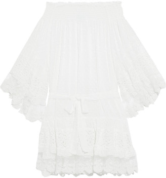 Melissa Odabash Alice Off-the-shoulder Embroidered Tulle, Lace And Fil Coupe Chiffon Coverup