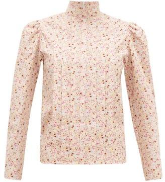 Batsheva Pleated Floral-print Cotton Blouse - Womens - Light Pink